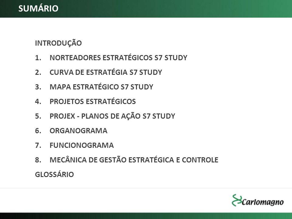 SUMÁRIO INTRODUÇÃO 1.NORTEADORES ESTRATÉGICOS S7 STUDY 2.CURVA DE ESTRATÉGIA S7 STUDY 3.MAPA ESTRATÉGICO S7 STUDY 4.PROJETOS ESTRATÉGICOS 5.PROJEX - P