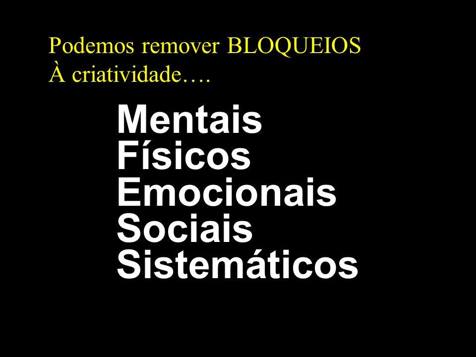 Podemos remover BLOQUEIOS À criatividade…. Mentais Físicos Emocionais Sociais Sistemáticos