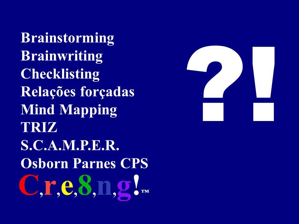 Brainstorming Brainwriting Checklisting Relações forçadas Mind Mapping TRIZ S.C.A.M.P.E.R. Osborn Parnes CPS ?! C, r, e, 8, n, g!