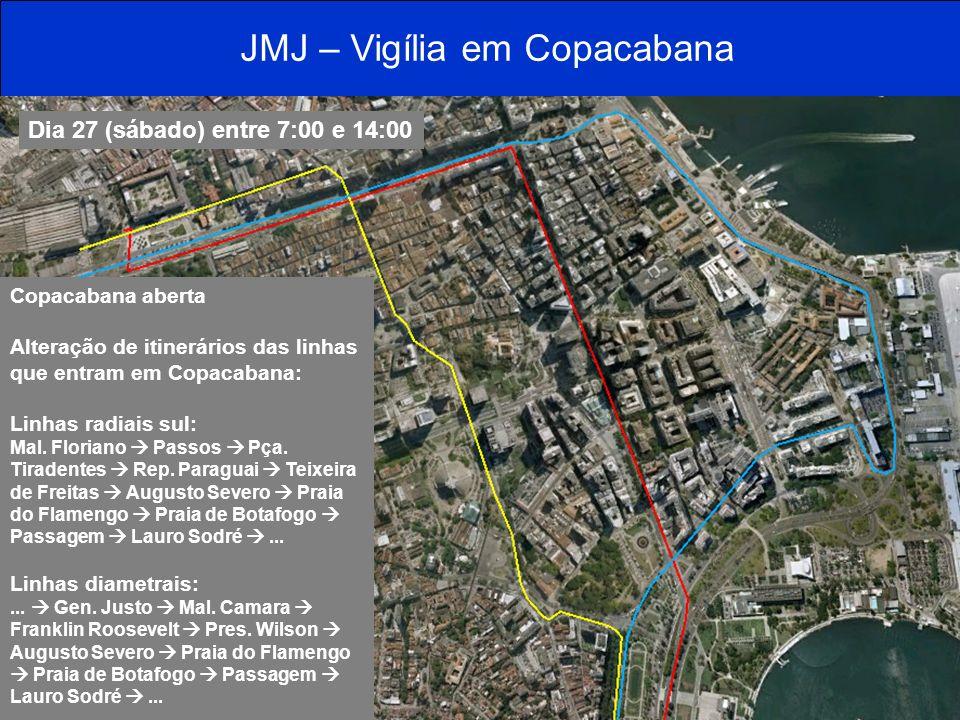 JMJ – Vigília em Copacabana Dia 27 (sábado) entre 7:00 e 14:00 Copacabana aberta Alteração de itinerários das linhas que entram em Copacabana: Linhas