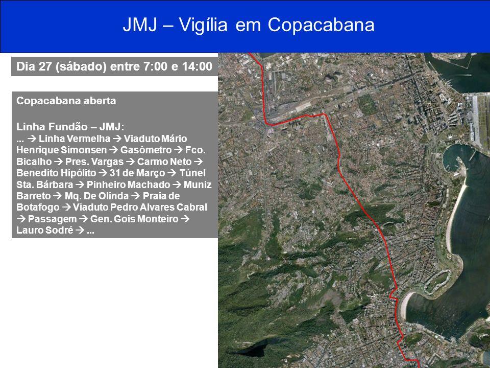JMJ – Vigília em Copacabana Dia 27 (sábado) entre 7:00 e 14:00 Copacabana aberta Linha Fundão – JMJ:... Linha Vermelha Viaduto Mário Henrique Simonsen
