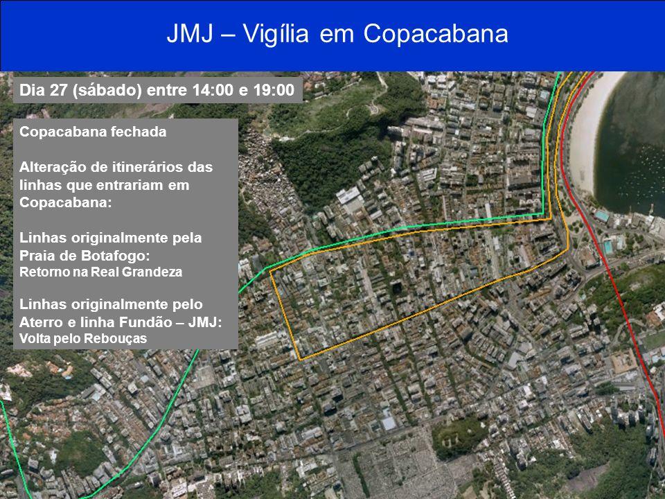 JMJ – Vigília em Copacabana Dia 27 (sábado) entre 14:00 e 19:00 Copacabana fechada Alteração de itinerários das linhas que entrariam em Copacabana: Li