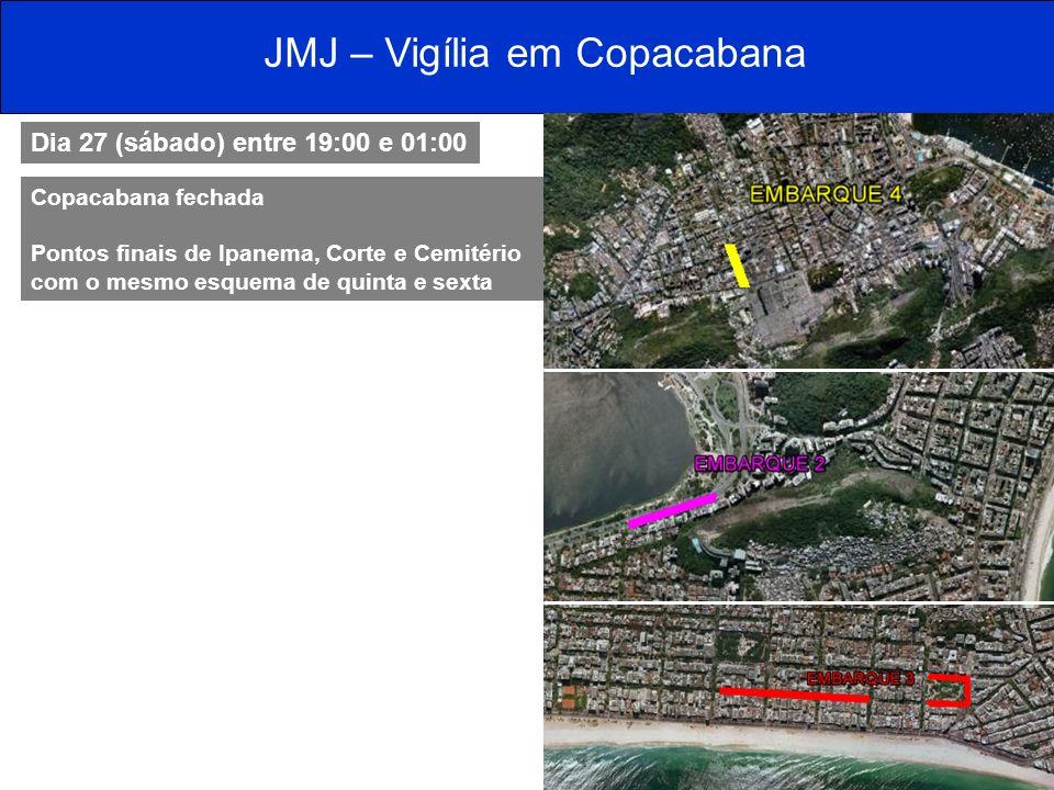 JMJ – Vigília em Copacabana Dia 27 (sábado) entre 19:00 e 01:00 Copacabana fechada Pontos finais de Ipanema, Corte e Cemitério com o mesmo esquema de