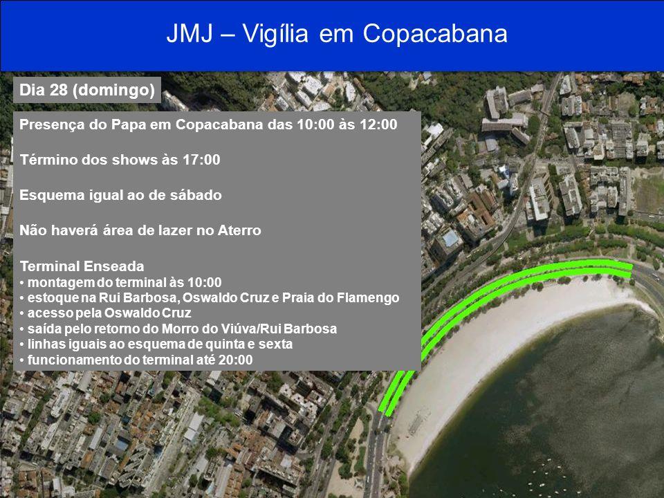 JMJ – Vigília em Copacabana Dia 28 (domingo) Copacabana fechada Pontos finais de Ipanema, Corte e Cemitério com o mesmo esquema de quinta e sexta montados das 10:00 às 20:00