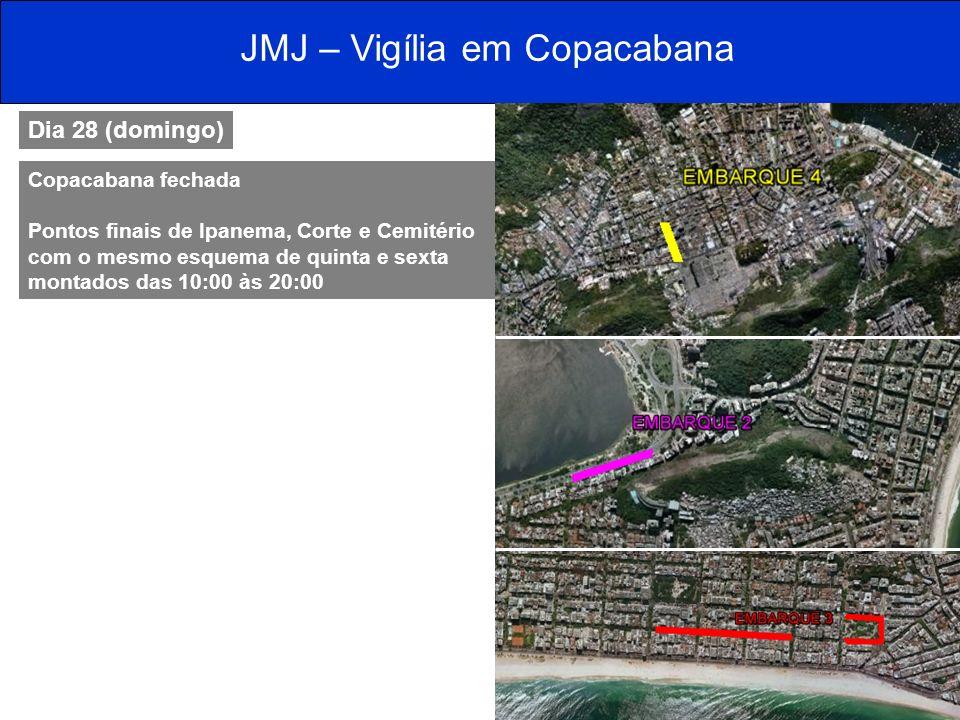 JMJ – Vigília em Copacabana Dia 28 (domingo) Copacabana fechada Pontos finais de Ipanema, Corte e Cemitério com o mesmo esquema de quinta e sexta mont