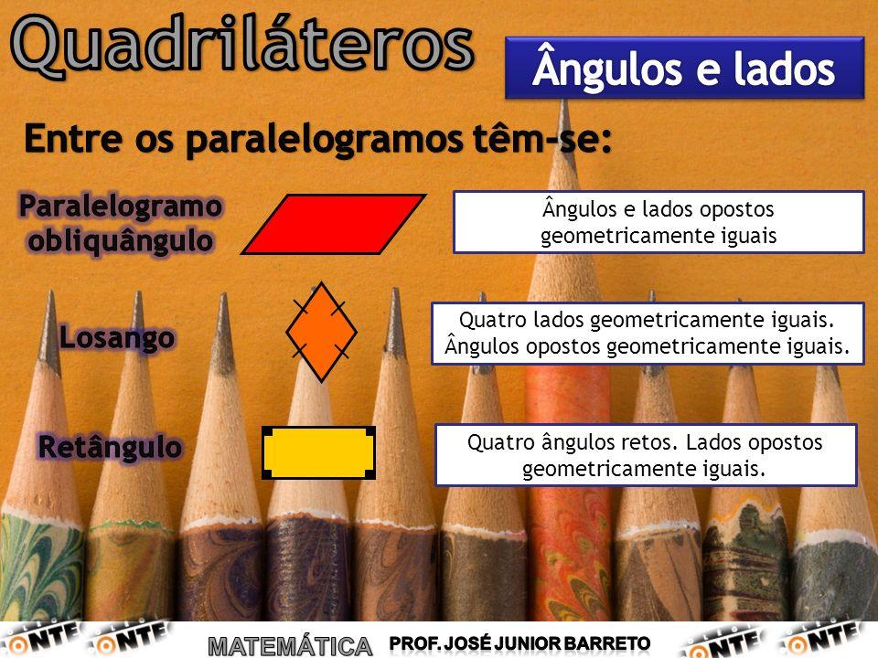 Quatro ângulos retos. Lados opostos geometricamente iguais. Quatro lados geometricamente iguais. Ângulos opostos geometricamente iguais. Ângulos e lad