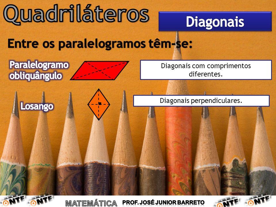 Diagonais perpendiculares. Diagonais com comprimentos diferentes.
