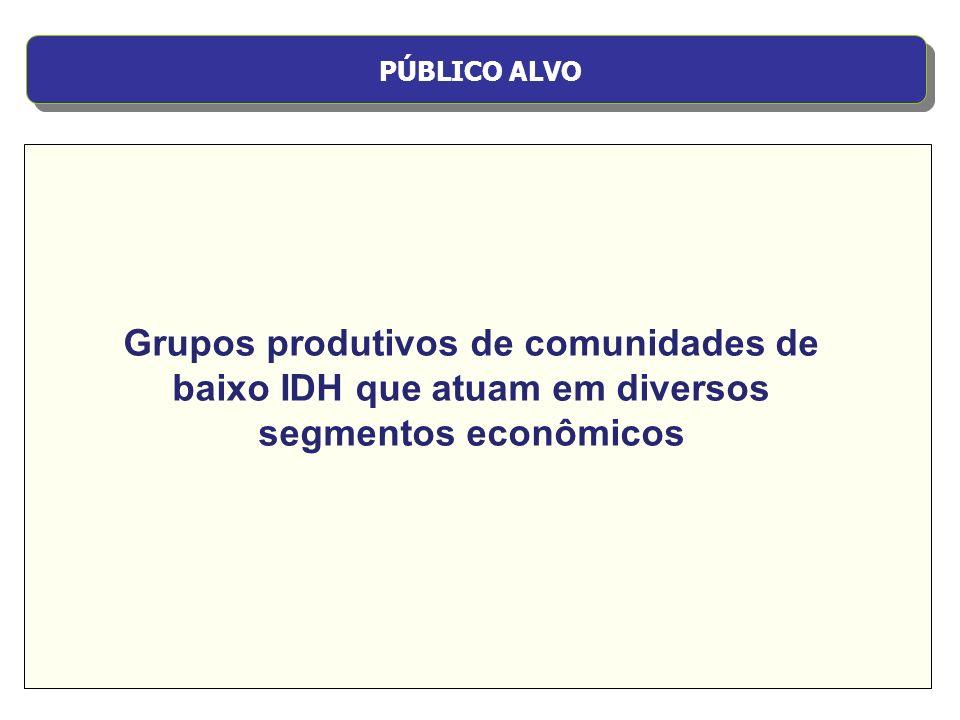 OBJETIVO GERAL Gerar trabalho e renda, contribuindo para a inclusão social, através da capacitação e do desenvolvimento sustentável dos grupos produtivos.