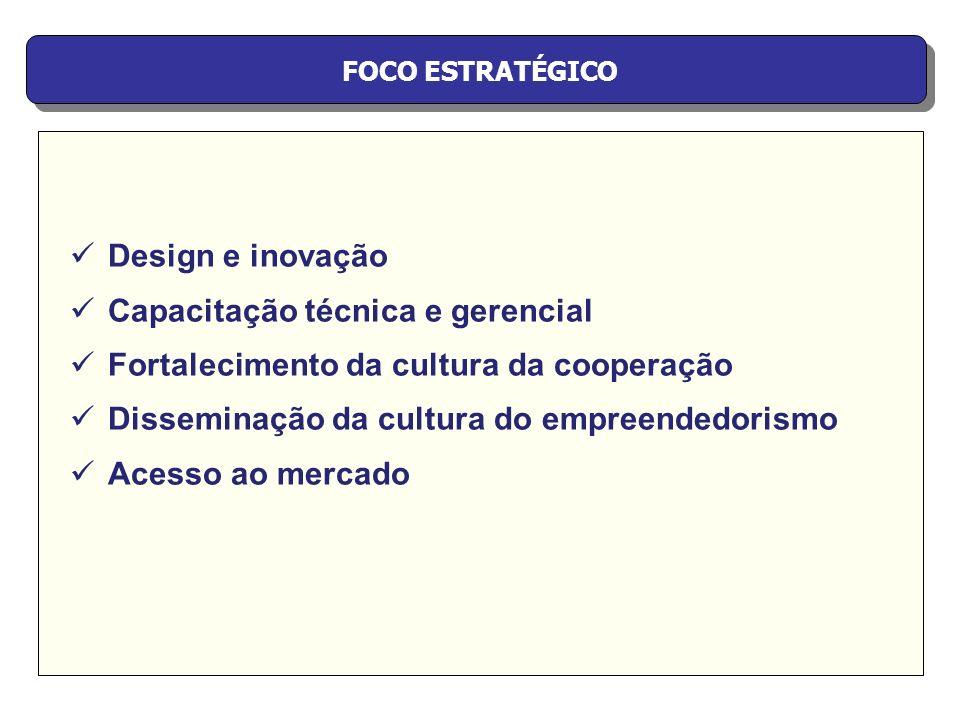 FOCO ESTRATÉGICO Design e inovação Capacitação técnica e gerencial Fortalecimento da cultura da cooperação Disseminação da cultura do empreendedorismo