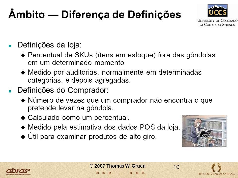 Âmbito Diferença de Definições n Definições da loja: u Percentual de SKUs (ítens em estoque) fora das gôndolas em um determinado momento u Medido por