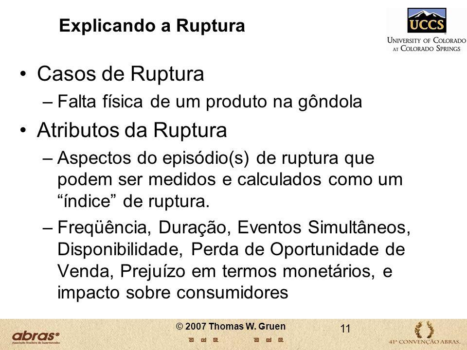 © 2007 Thomas W. Gruen Explicando a Ruptura Casos de Ruptura –Falta física de um produto na gôndola Atributos da Ruptura –Aspectos do episódio(s) de r