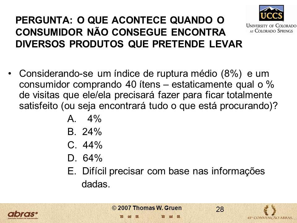 28 PERGUNTA: O QUE ACONTECE QUANDO O CONSUMIDOR NÃO CONSEGUE ENCONTRA DIVERSOS PRODUTOS QUE PRETENDE LEVAR Considerando-se um índice de ruptura médio
