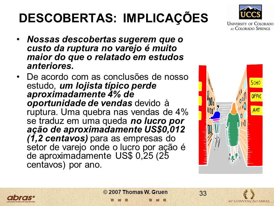 33 DESCOBERTAS: IMPLICAÇÕES Nossas descobertas sugerem que o custo da ruptura no varejo é muito maior do que o relatado em estudos anteriores. De acor