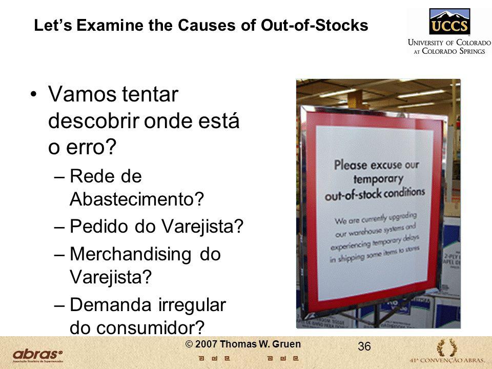 Lets Examine the Causes of Out-of-Stocks Vamos tentar descobrir onde está o erro? –Rede de Abastecimento? –Pedido do Varejista? –Merchandising do Vare