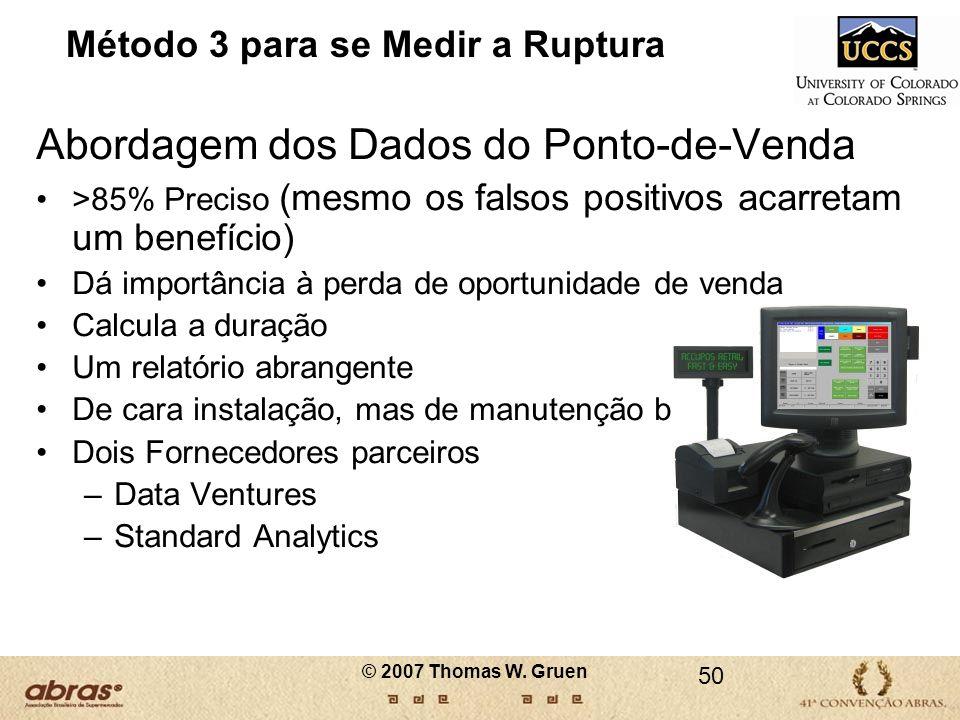 Método 3 para se Medir a Ruptura Abordagem dos Dados do Ponto-de-Venda >85% Preciso (mesmo os falsos positivos acarretam um benefício) Dá importância