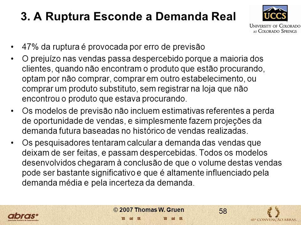 3. A Ruptura Esconde a Demanda Real 47% da ruptura é provocada por erro de previsão O prejuízo nas vendas passa despercebido porque a maioria dos clie