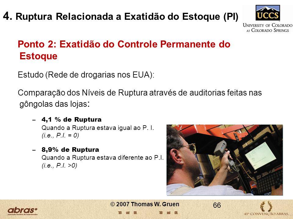 © 2007 Thomas W. Gruen 66 4. Ruptura Relacionada a Exatidão do Estoque (PI) Ponto 2: Exatidão do Controle Permanente do Estoque Estudo (Rede de drogar