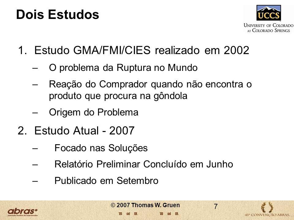 Dois Estudos 1.Estudo GMA/FMI/CIES realizado em 2002 –O problema da Ruptura no Mundo –Reação do Comprador quando não encontra o produto que procura na