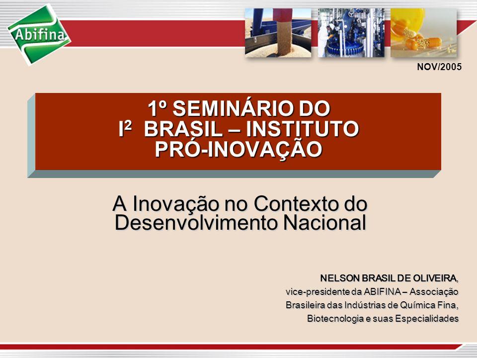 1º SEMINÁRIO DO I 2 BRASIL – INSTITUTO PRÓ-INOVAÇÃO A Inovação no Contexto do Desenvolvimento Nacional NELSON BRASIL DE OLIVEIRA, vice-presidente da A