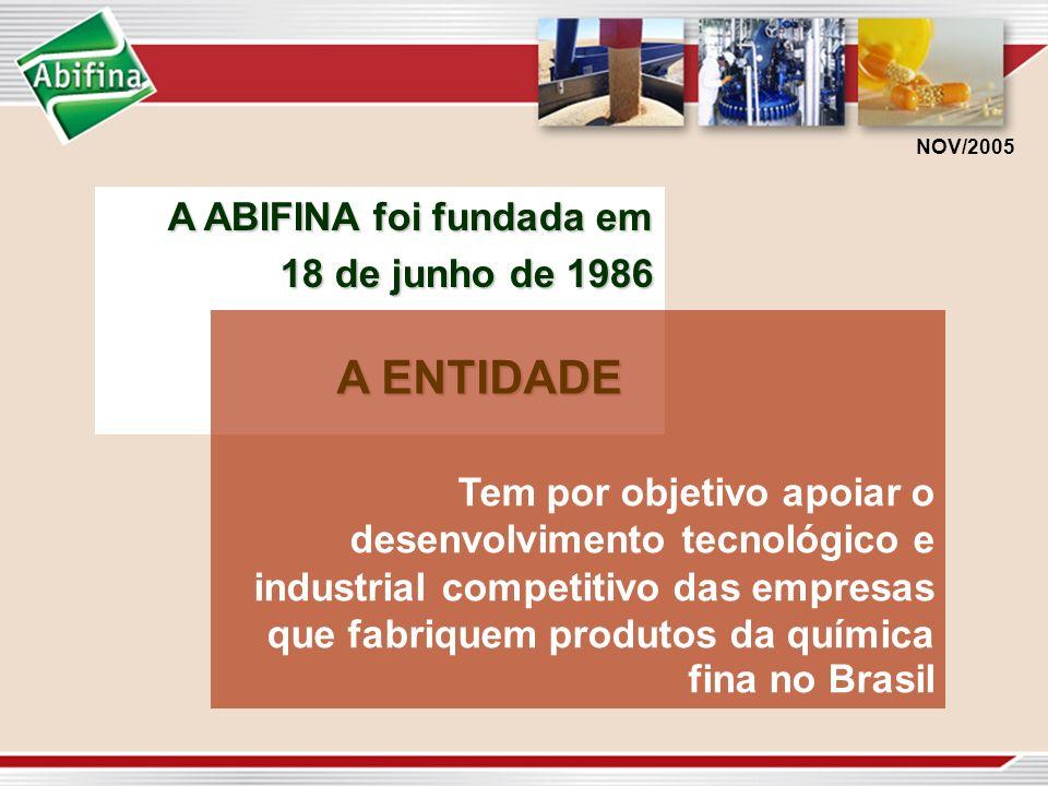 A ABIFINA foi fundada em 18 de junho de 1986 NOV/2005 A ENTIDADE Tem por objetivo apoiar o desenvolvimento tecnológico e industrial competitivo das em