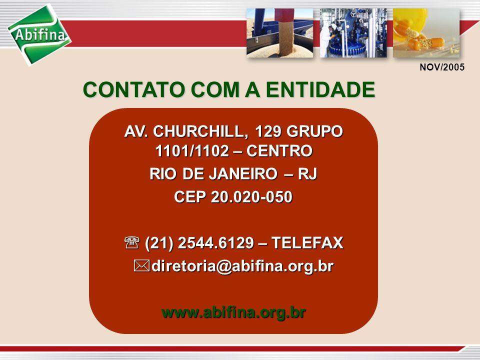 CONTATO COM A ENTIDADE NOV/2005 AV. CHURCHILL, 129 GRUPO 1101/1102 – CENTRO RIO DE JANEIRO – RJ CEP 20.020-050 (21) 2544.6129 – TELEFAX (21) 2544.6129