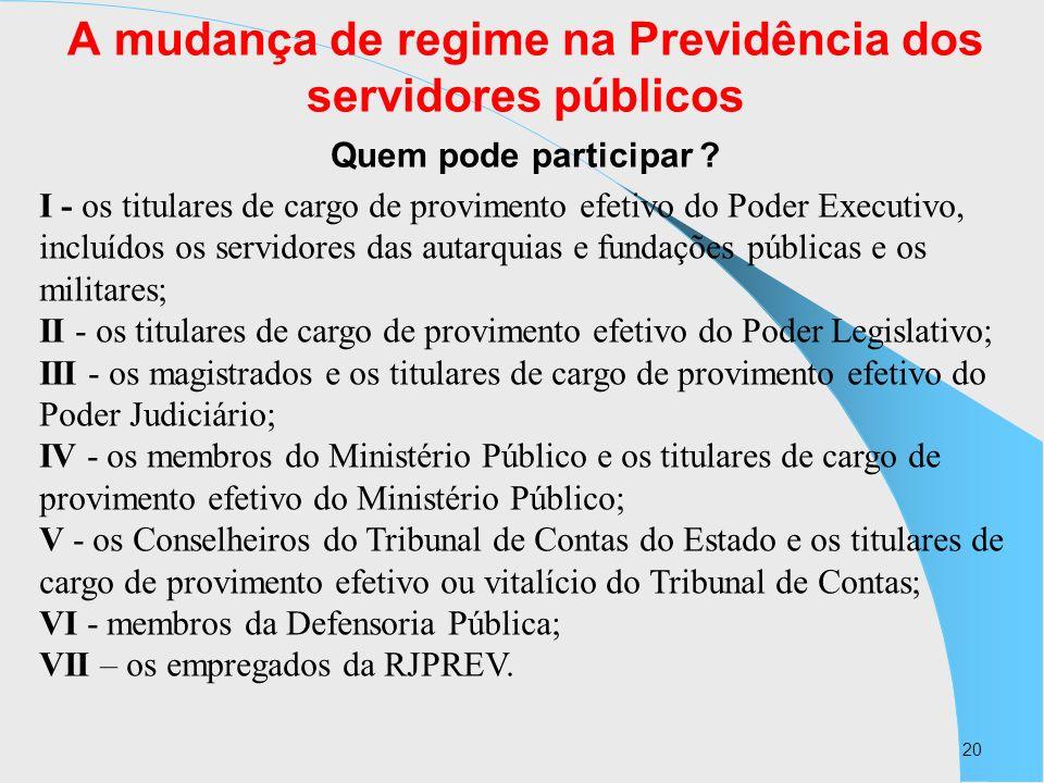 20 A mudança de regime na Previdência dos servidores públicos Quem pode participar ? I - os titulares de cargo de provimento efetivo do Poder Executiv