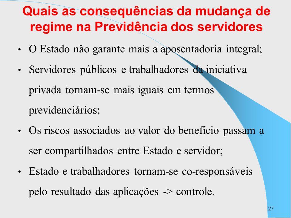 27 Quais as consequências da mudança de regime na Previdência dos servidores O Estado não garante mais a aposentadoria integral; Servidores públicos e