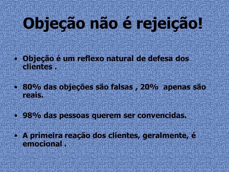 Objeção não é rejeição! Objeção é um reflexo natural de defesa dos clientes. 80% das objeções são falsas, 20% apenas são reais. 98% das pessoas querem