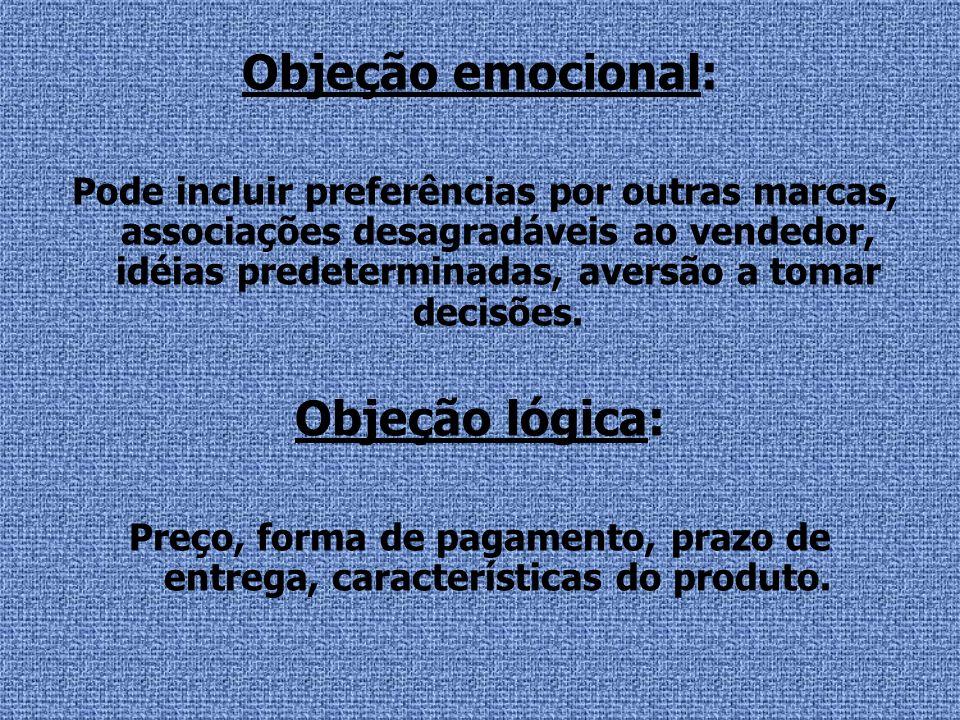 Objeção emocional: Pode incluir preferências por outras marcas, associações desagradáveis ao vendedor, idéias predeterminadas, aversão a tomar decisõe
