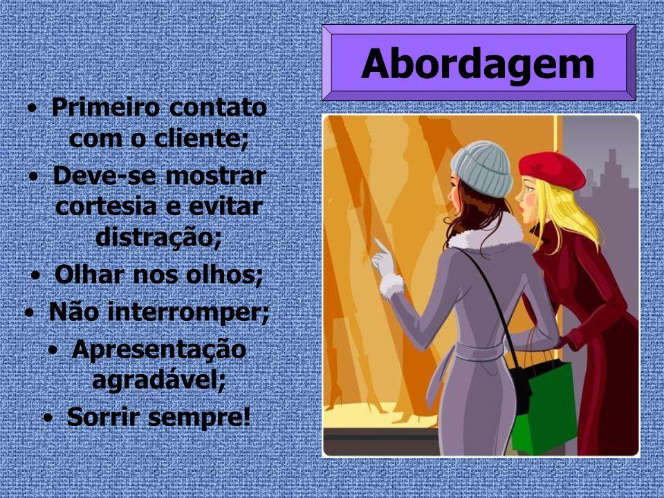 Primeiro contato com o cliente; Deve-se mostrar cortesia e evitar distração; Olhar nos olhos; Não interromper; Apresentação agradável; Sorrir sempre!