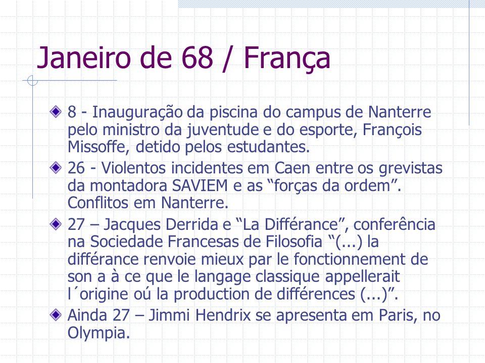 Janeiro de 68 / França 8 - Inauguração da piscina do campus de Nanterre pelo ministro da juventude e do esporte, François Missoffe, detido pelos estud