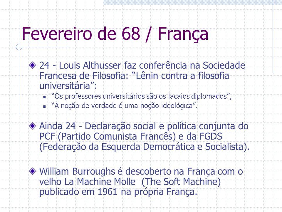 Fevereiro de 68 / França 24 - Louis Althusser faz conferência na Sociedade Francesa de Filosofia: Lênin contra a filosofia universitária: Os professor
