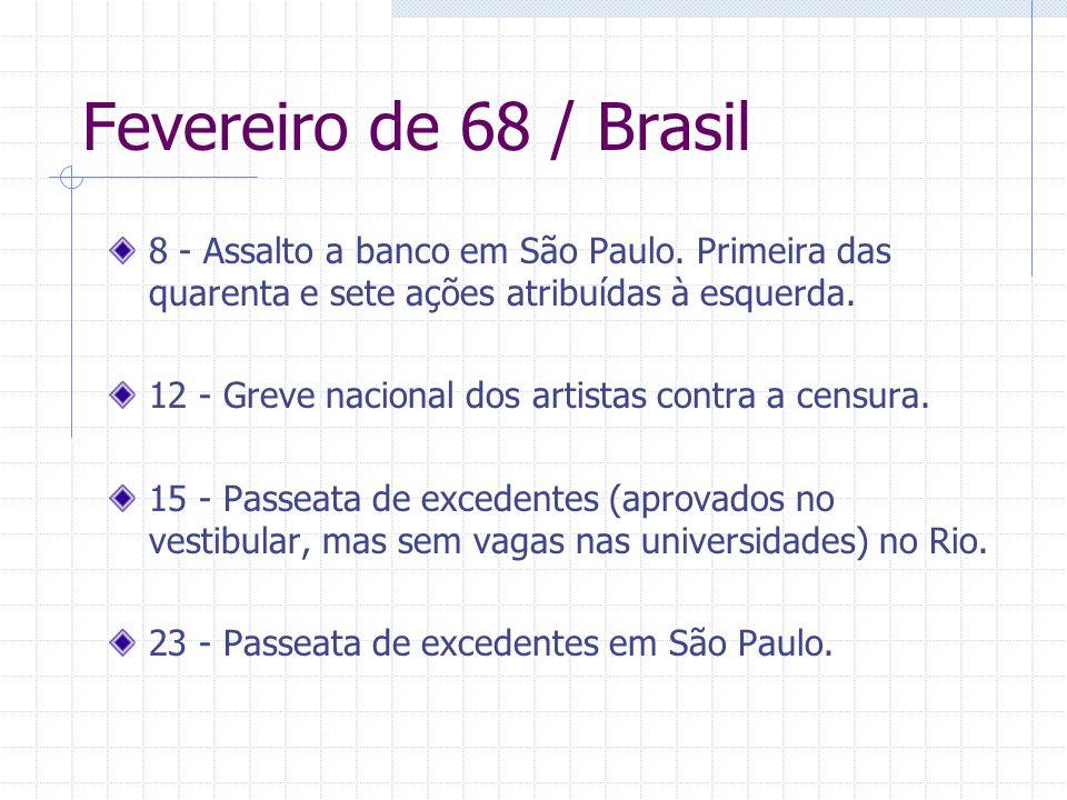 Fevereiro de 68 / Brasil 8 - Assalto a banco em São Paulo. Primeira das quarenta e sete ações atribuídas à esquerda. 12 - Greve nacional dos artistas