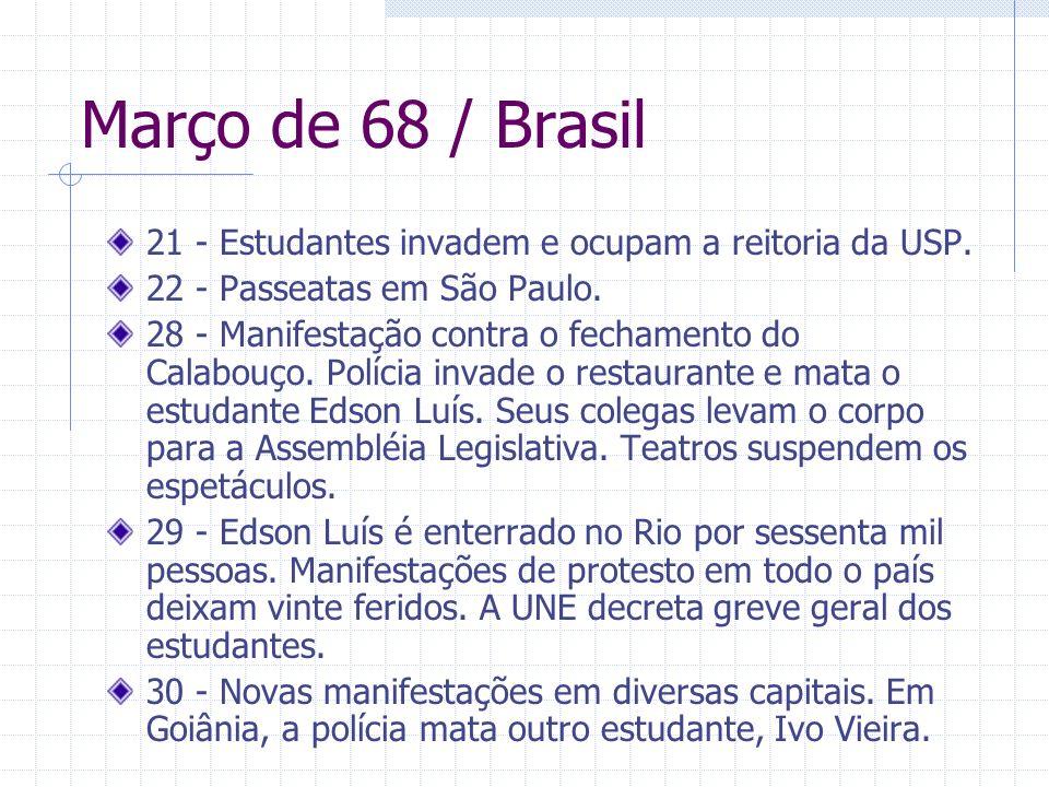 Março de 68 / Brasil 21 - Estudantes invadem e ocupam a reitoria da USP. 22 - Passeatas em São Paulo. 28 - Manifestação contra o fechamento do Calabou
