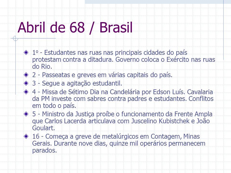 Abril de 68 / Brasil 1 o - Estudantes nas ruas nas principais cidades do país protestam contra a ditadura. Governo coloca o Exército nas ruas do Rio.