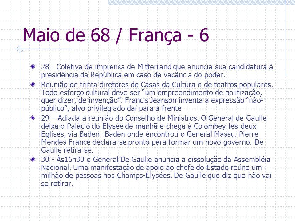 Maio de 68 / França - 6 28 - Coletiva de imprensa de Mitterrand que anuncia sua candidatura à presidência da República em caso de vacância do poder. R