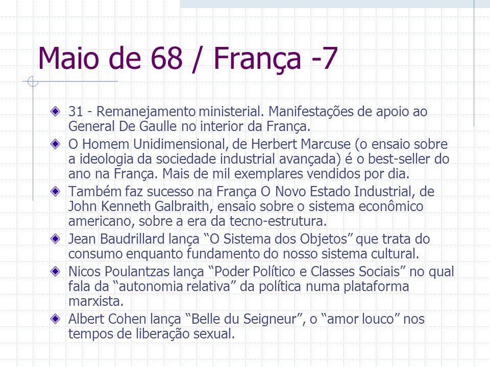 Maio de 68 / França -7 31 - Remanejamento ministerial. Manifestações de apoio ao General De Gaulle no interior da França. O Homem Unidimensional, de H