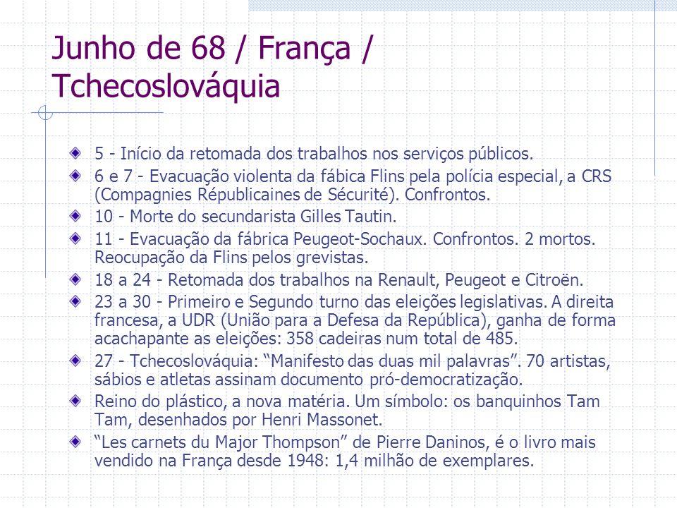 Junho de 68 / França / Tchecoslováquia 5 - Início da retomada dos trabalhos nos serviços públicos. 6 e 7 - Evacuação violenta da fábica Flins pela pol
