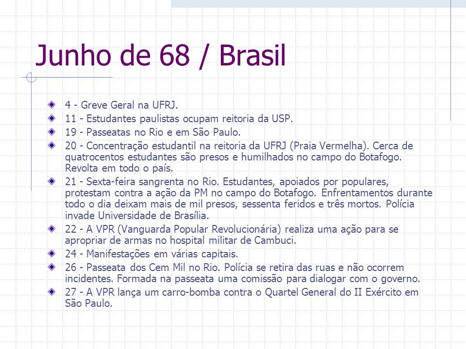 Junho de 68 / Brasil 4 - Greve Geral na UFRJ. 11 - Estudantes paulistas ocupam reitoria da USP. 19 - Passeatas no Rio e em São Paulo. 20 - Concentraçã