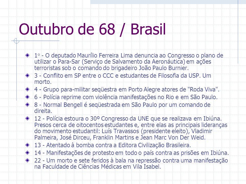 Outubro de 68 / Brasil 1 o - O deputado Maurílio Ferreira Lima denuncia ao Congresso o plano de utilizar o Para-Sar (Serviço de Salvamento da Aeronáut