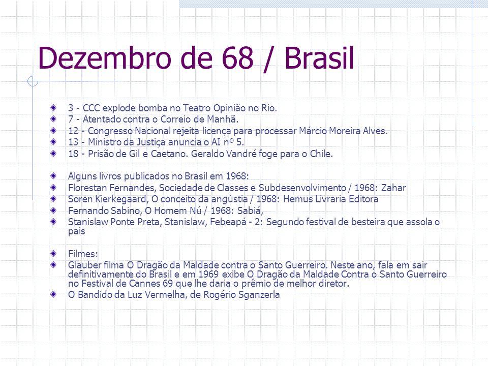 Dezembro de 68 / Brasil 3 - CCC explode bomba no Teatro Opinião no Rio. 7 - Atentado contra o Correio de Manhã. 12 - Congresso Nacional rejeita licenç