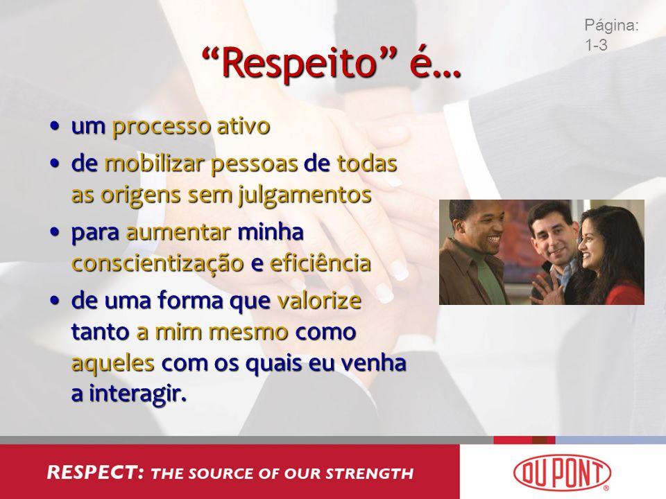 Respeito é… um processo ativoum processo ativo de mobilizar pessoas de todas as origens sem julgamentosde mobilizar pessoas de todas as origens sem ju
