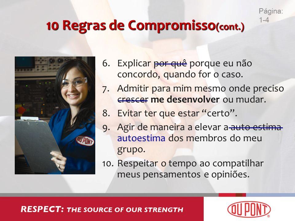 10 Regras de Compromisso (cont.) 6.Explicar por quê porque eu não concordo, quando for o caso. 7.Admitir para mim mesmo onde preciso crescer me desenv