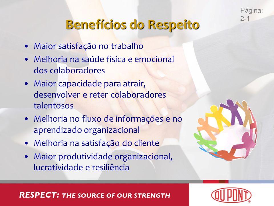 Benefícios do Respeito Maior satisfação no trabalho Melhoria na saúde física e emocional dos colaboradores Maior capacidade para atrair, desenvolver e