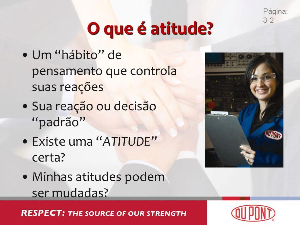 O que é atitude? Um hábito de pensamento que controla suas reações Sua reação ou decisão padrão Existe uma ATITUDE certa? Minhas atitudes podem ser mu