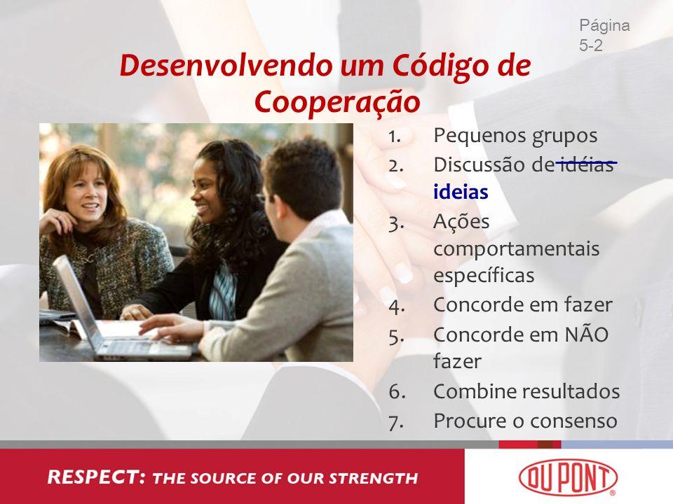 Desenvolvendo um Código de Cooperação 1.Pequenos grupos 2.Discussão de idéias ideias 3.Ações comportamentais específicas 4.Concorde em fazer 5.Concord