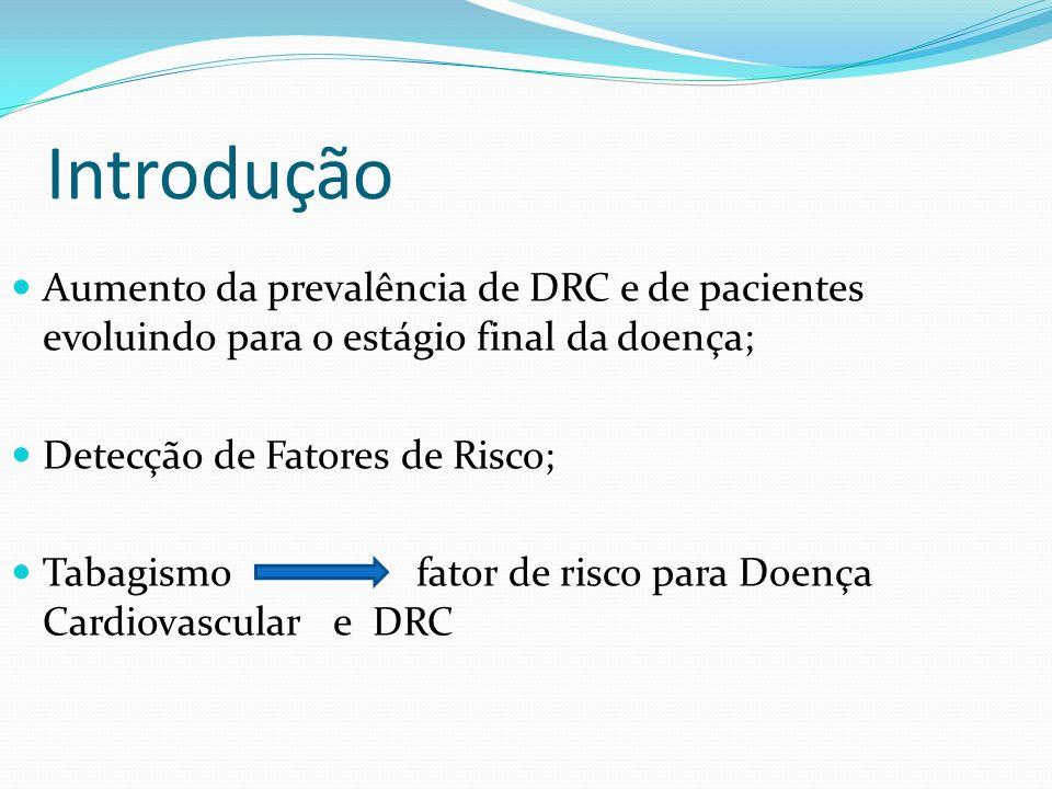 Introdução Aumento da prevalência de DRC e de pacientes evoluindo para o estágio final da doença; Detecção de Fatores de Risco; Tabagismo fator de ris