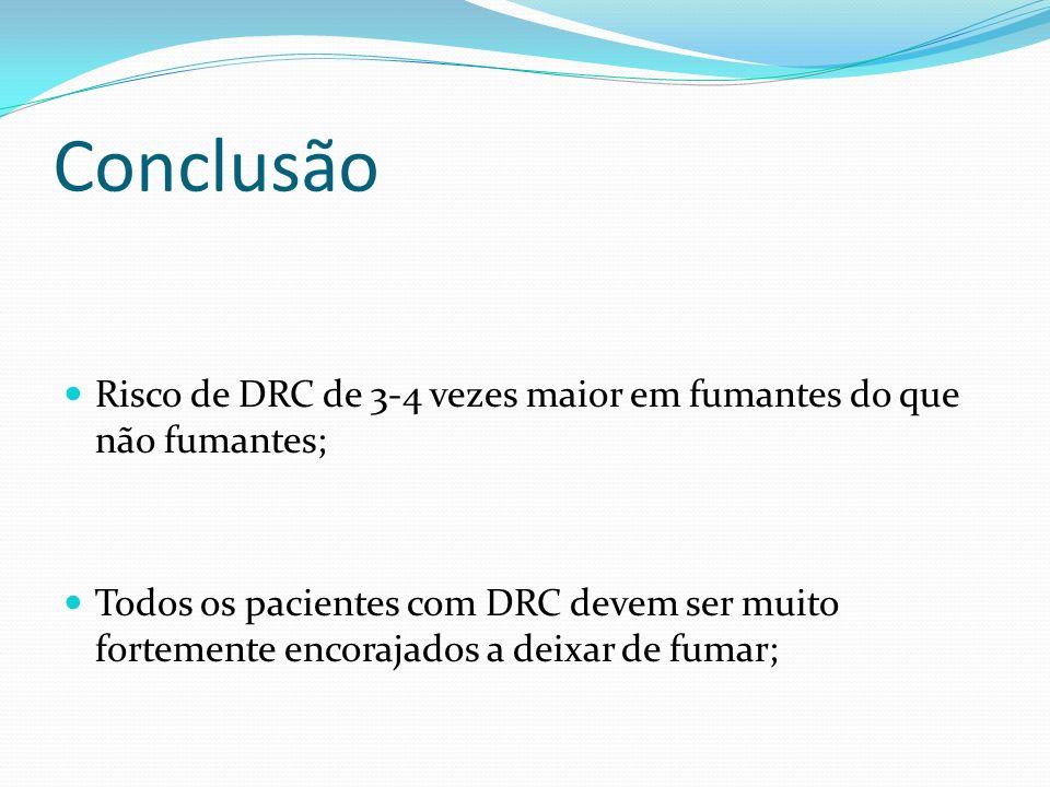 Conclusão Risco de DRC de 3-4 vezes maior em fumantes do que não fumantes; Todos os pacientes com DRC devem ser muito fortemente encorajados a deixar