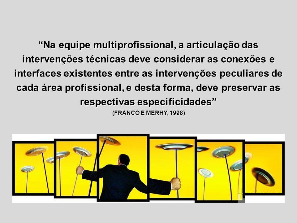 Na equipe multiprofissional, a articulação das intervenções técnicas deve considerar as conexões e interfaces existentes entre as intervenções peculia