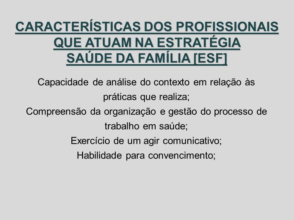 CARACTERÍSTICAS DOS PROFISSIONAIS QUE ATUAM NA ESTRATÉGIA SAÚDE DA FAMÍLIA [ESF] Capacidade de análise do contexto em relação às práticas que realiza;
